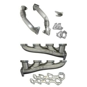 Ppe High flow Exhaust Manifolds With Up pipes For 2001 2004 Gm 6 6l Duramax Lb7