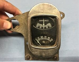 Vintage Amp And Oil Gauge Combo With Bracket Hot Rod Rat Rod Ford Chevy Dodge