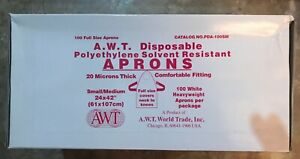 A w t Disposable Polyethylene Solvent Resistant Aprons 100 Per Box Lot Of 10