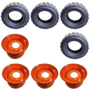 Qty 4 Skid Steer Tires wheels rims For Bobcat 12 ply 12 X 16 5