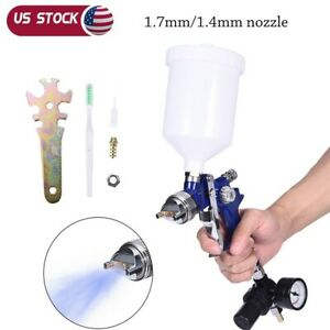 Hvlp Gravity Feed Spray Paint Gun W Gauge Regulator 1 7 1 4mm Nozzle Auto Body