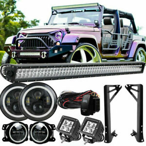 50 Straight Light Bar pods headlight fog Lamp Roof Bracket For 2007 18 Jeep Jk