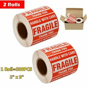 2 Rolls 500 roll 2x3 Fragile Stickers Handle With Care Shipping Warning Label Us