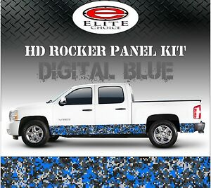 Digital Blue Camo Rocker Panel Graphic Decal Wrap Truck Suv 12 X 24ft