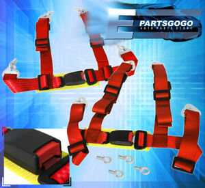 Universal 2 Strap 4 Point Quick Release Racing Seat Belt Harness Sport Set Red