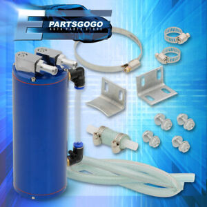 Turbo Universal Oil Catch Can Breather Tank Blue Billet Aluminum Cylinder 350ml
