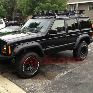 For 84 96 Jeep Cherokee Xj 4dr Pocket Rivet Style Abs Fender Flares Wheel Cover