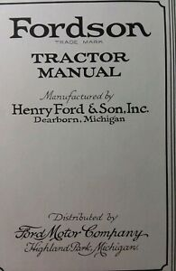 Fordson Tractor 1920 8th Ed Owners Repair Manual Farm Henry Ford Son Inc