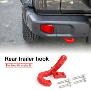 1x Red Rear Bumper Trailer Hook Tow Hitch For Jeep Wrangler Jl 2018 Accessories