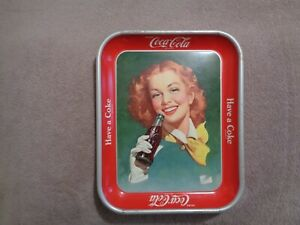 Vintage Coca-Cola serving tray red hair girl with yellow scarf 1950-52