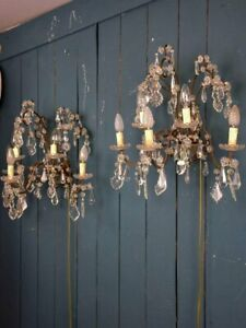 Pair Of 1940 S Crystal Wall Sconces 5 Lights