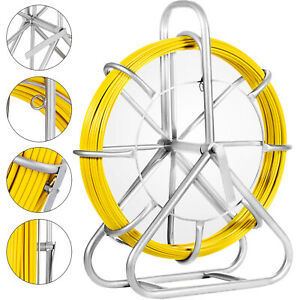 130m 425ft Fish Tape 6mm Fiberglass Wire Cable Rod Push Puller Duct Rodder