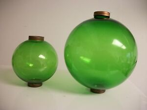 2 4 5 1 6 5 Green Glass Ball Set For Weathervanes Or Lightening Rods