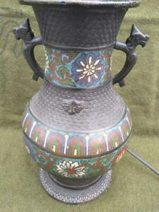 Old Antique Bronze Chinese Asian Art Urn Vase Champleve Cloisone Lamp Light