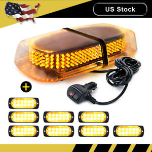 240 Led Emergency Top Roof Flash Beacon Strobe Light Amber 8pcs 12 Led Lights