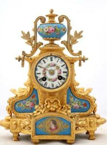 Antique French Mantle Clock 8 Day Stunning Gilt Metal Hand Painted Porcelain