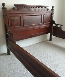 Elegant Burl Walnut Bed Full Size And Matching Marble Top Dresser Antique