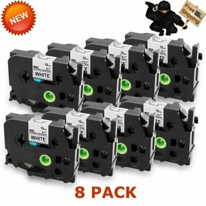 8pk For Brother P touch Pt d600 Tze 241 Tz 241 Label Tape Black On White 18mm