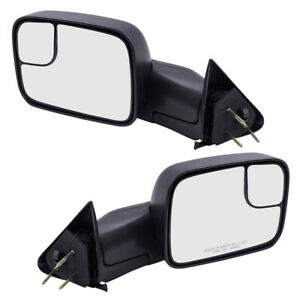 Pair Tow Mirrors For 94 02 Dodge Ram Truck Manual Side Flip Up 7x10 Textured Set