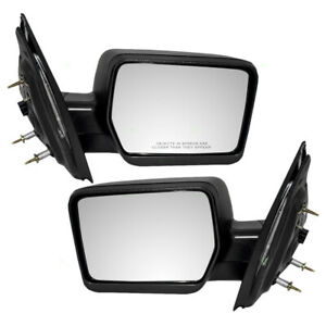 Pair Set Power Side Mirrors Pedestal Type Textured For 04 08 Ford F 150 Pickup
