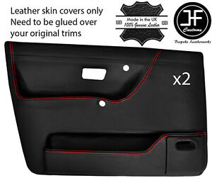 Red Stitch 2x Front Door Card Skin Cover For Vw Golf Mk2 Jetta 83 92 5dr Dsg2