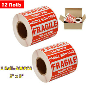 12 Rolls 2x3 Fragile Stickers Handle With Care Thank You Shipping Warning Labels