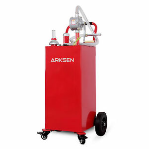 30 Gallon Portable Gas Caddy Fuel Storage Tank Large Gasoline Can W wheels Red