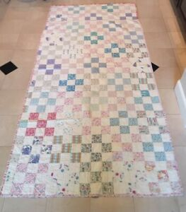 Vintage Quilt 1910 Hand Stitched 102 X 50 Patchwork Design Great Condition