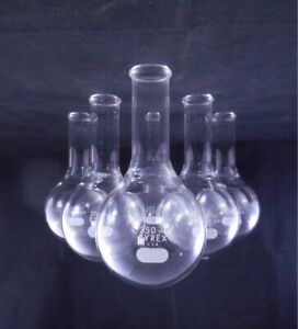 Pyrex Glass 250ml Round Bottom Boiling Flask Long Neck Tooled Mouth 4280 6 pack