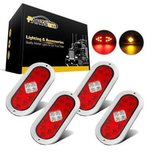 4pc 6 Truck Trailer 14 Led Stop Tail Turn Signal Lights 4 Wire W stainless Ring