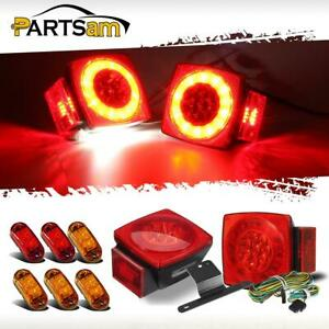 Submersible Trailer Boat Led Stop Turn Tail Side Marker License Plate Lights Kit