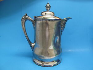 Antique Victorian Superior Silver Silverplated Covered Water Pitcher Tin Lined