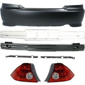 Bumper Cover Kit For 2004 2005 Civic Rear 2 Door Coupe 7 Pieces