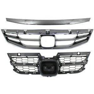 Grille For 2011 2012 Honda Accord Coupe Set Of 3 Gray Plastic