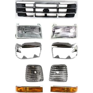 Grille Assembly Kit For 1992 1996 Ford F 150 F 250 1992 1997 F53 F 350 F59 9pc