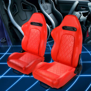 All Red Quited Stitch Reclinable Pvc Leather Racing Seats W Universal Slider