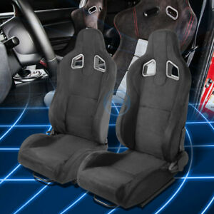 All Black Fully Reclinable Suede Type R Sport Racing Seats W Universal Sliders