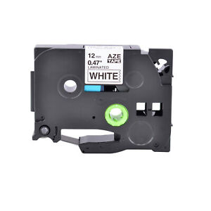 12mm Black On White Label Tape 0 47 For Brother P touch Pt 200 Tze231 Tz231