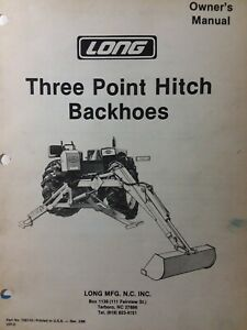 Long 1199b 1198 Backhoe Owner Parts Manual 3 Three Point Attachment Tractor