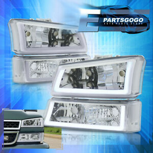 For 03 07 Silverado Led Drl Chrome Housing Clear Headlights Bumper Lamps Pair