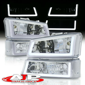 Chrom Clear Corner Led Drl Bumper Head Lights Lamp Lh Rh For 2003 2007 Silverado