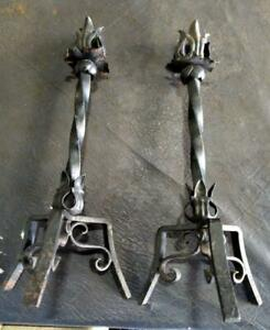 Set Of Two Old Vintage Antique Wrought Iron Gothic Mission Candlesticks Pair 2