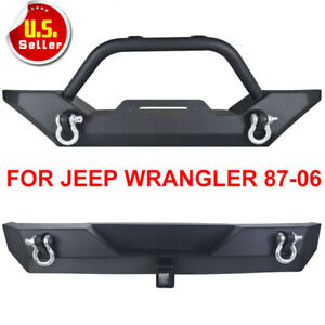Rock Crawler Front Rear Bumper Winch D Ring For 87 06 Jeep Wrangler Tj Yj Mg
