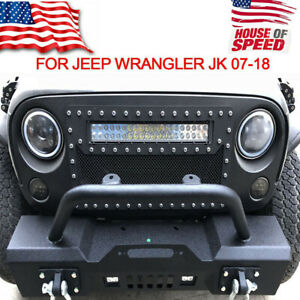Rock Crawler Front Bumper For 07 18 Jeep Wrangler Jk With Built in Led Lights Mg