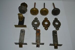 Vintage Brass Door Knobs Back Plates Strikers Deadbolt Lot