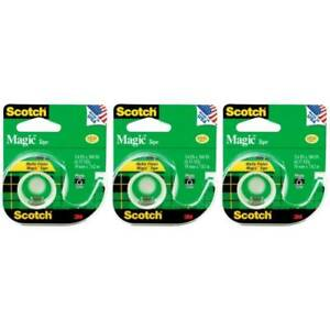 Scotch Magic Tape W Dispenser Refillable 105 Transparent Matte Write On 3 pack