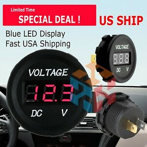 Red Led Digital Display Voltmeter Car Motorcycle Voltage Dc Waterproof 12 24v Us