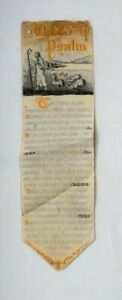 1800s Antique Victorian Woven Silk Tapestry Bookmark The 23rd Psalm Christian