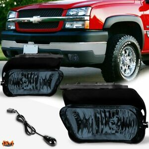 For 02 06 Chevy Silverado avalanche Smoke Lens Bumper Fog Light lamp switch Pair