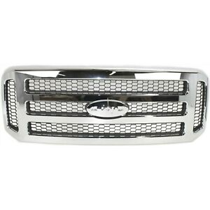 New Grille Chromed Shell With Gray Insert For Ford F series Super Duty 2005 2007